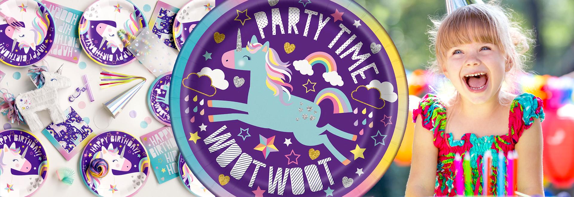Organisez un anniversaire 100% licorne avec la vaisselle jetable Happybirthday licorne