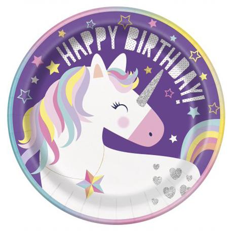 l'assiette ronde licorne HappyBirthday pour un anniversaire girly