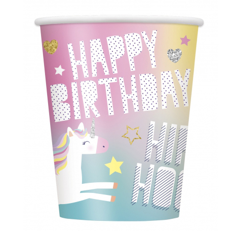 Gobelet licorne multi couleur Happy Birthday licorne