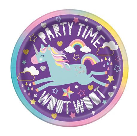 l'assiette ronde violette pour son anniversaire sur le thème licorne
