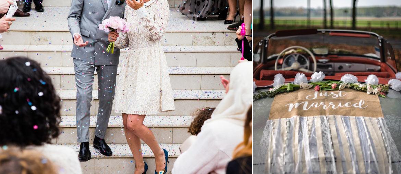 Décoration voiture Just Married pour mariages avec canons de confettis cœurs