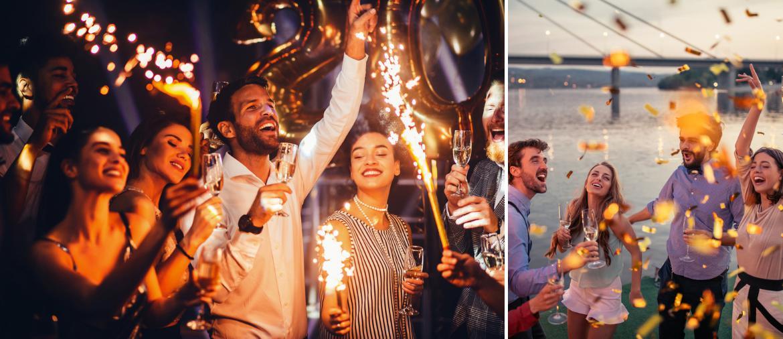 Canon à confetti et déguisement pour nouvel an 2019