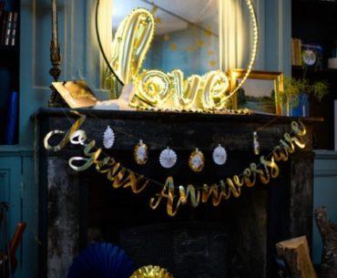 guirlande or joyeux anniversaire décoration
