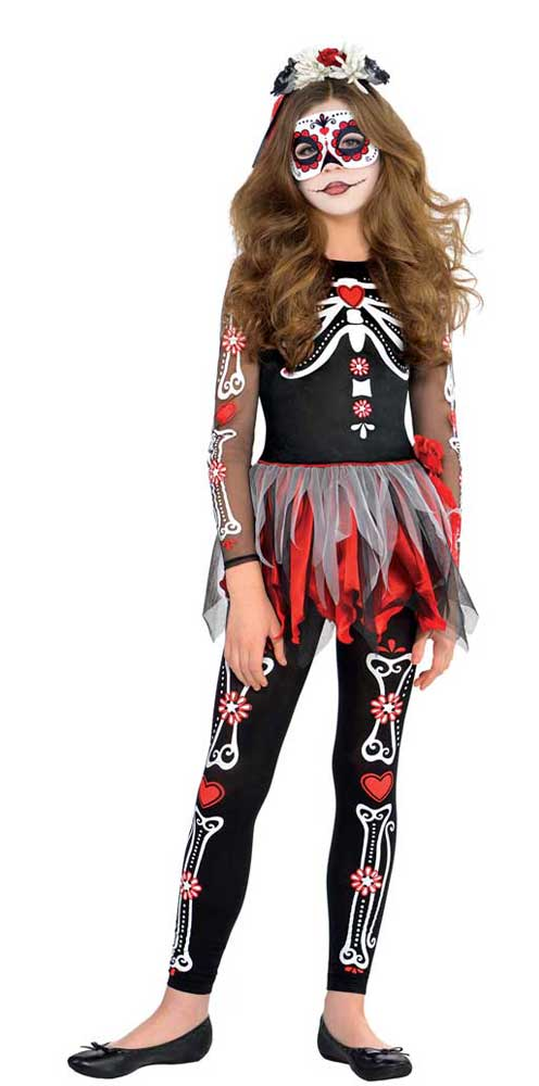 Costume day of the dead ado fille
