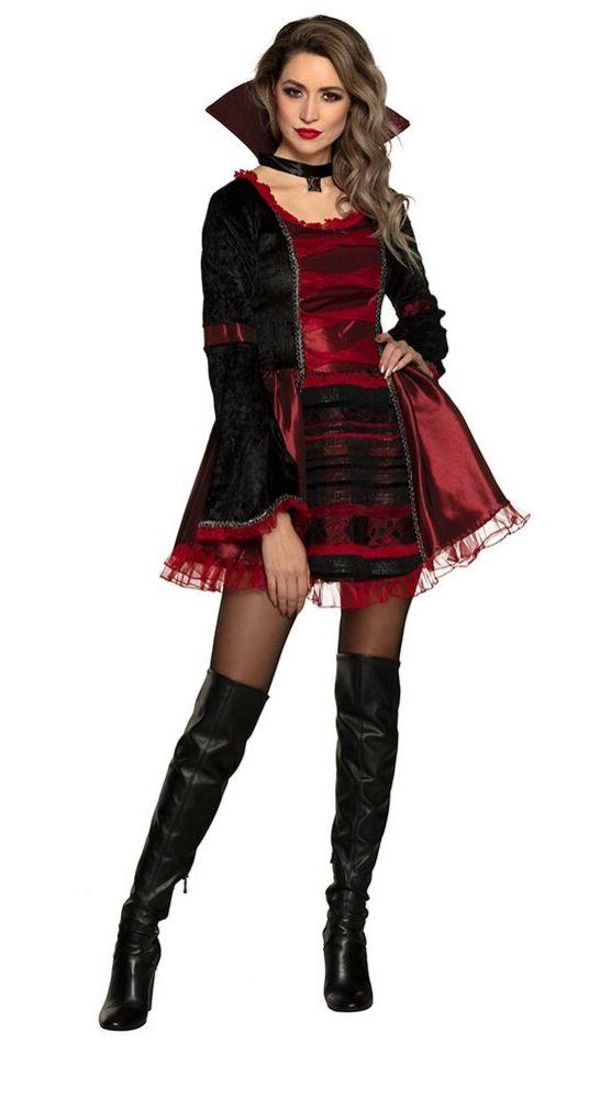 costume femme gothique noir rouge halloween
