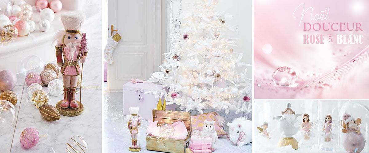 décoration de noel rose et blanc pastel noel en douceur