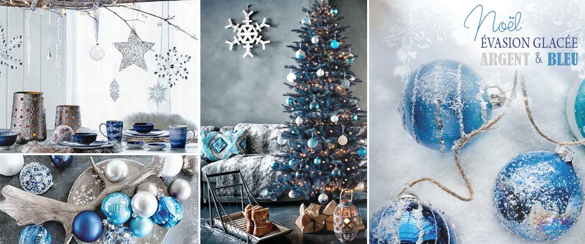 décoraton noel bleu nuit et argent style évasion glaçée