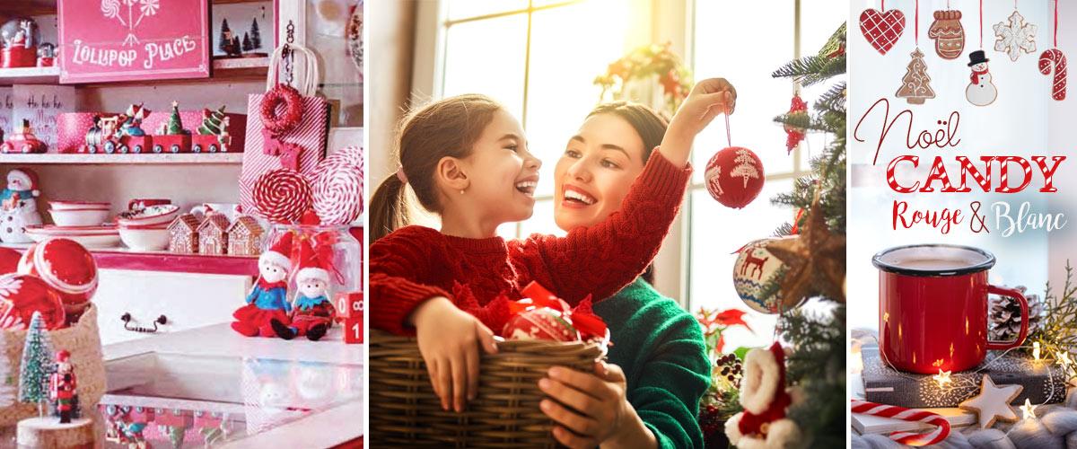 décoration de Noël Candy rouge et blanc