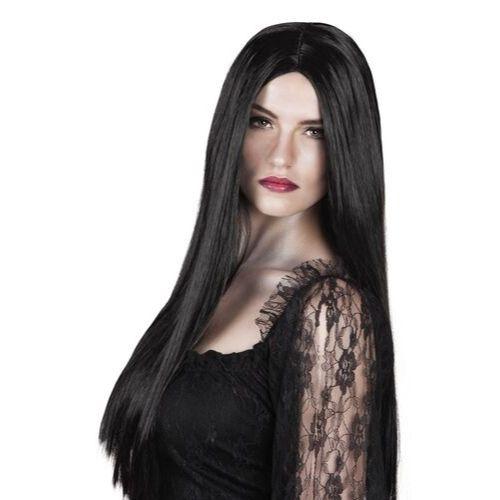 perruque noire sorciere halloween