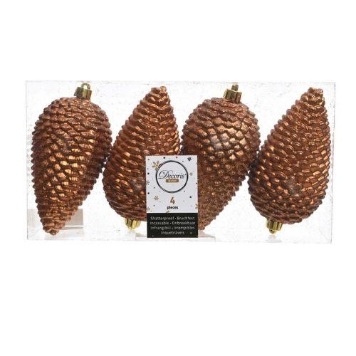 4 boules sapin marron pour decorer son arbre de noel