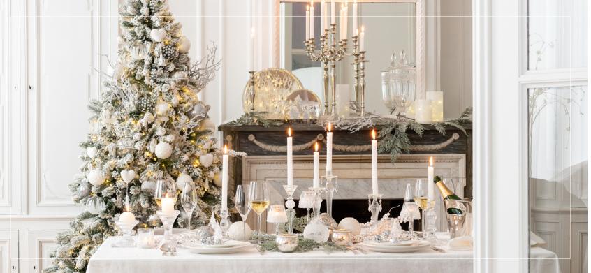 Noël blanc déco inspiration table de noel sapin