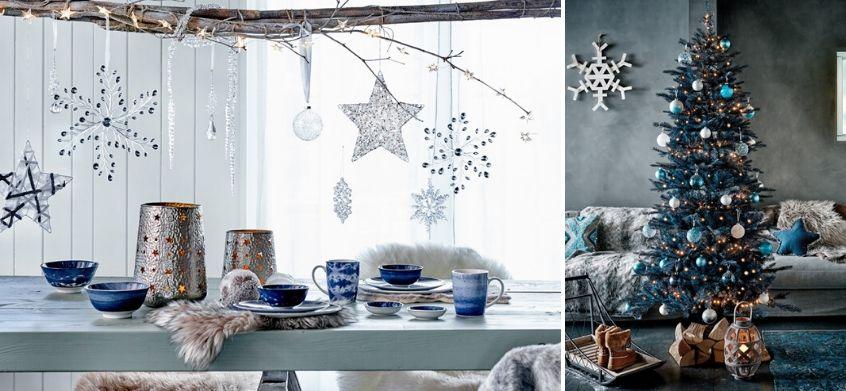 décoration bleu givré sapin