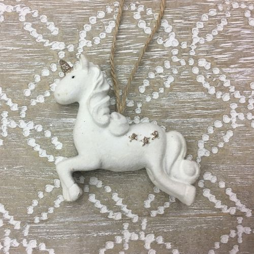 suspension licorne blanche decorer sapin de noel